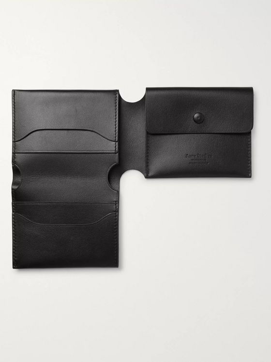 Acne Studios Logo-Print Leather Trifold Wallet