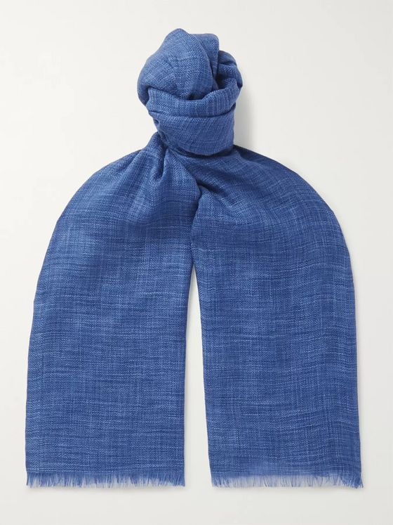 LORO PIANA Brina Fringed Herringbone Mélange Cashmere and Silk-Blend Scarf