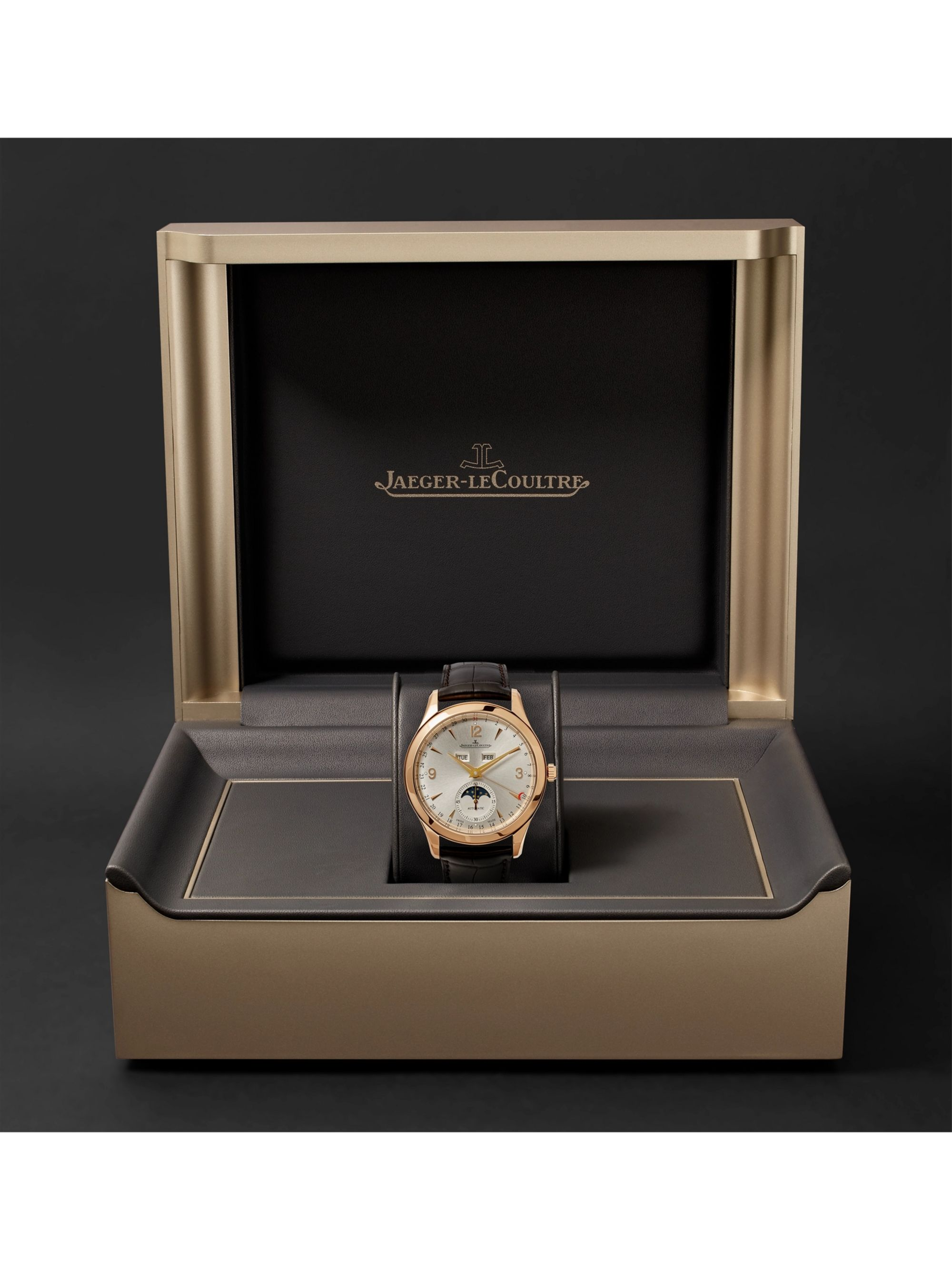 Jaeger-LeCoultre Master Calendar Automatic 39mm 18-Karat Rose Gold and Alligator Watch, Ref. No. JLQ1368420