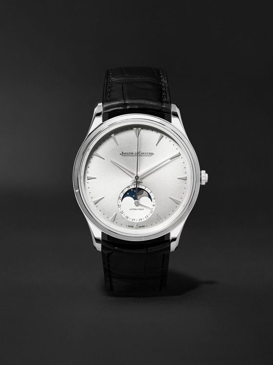 Jaeger-LeCoultre Master Ultra Thin Moon 39mm Stainless Steel and Alligator Watch, Ref. No. JLQ1368420