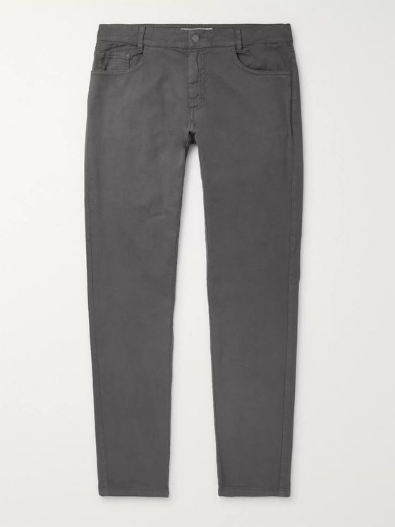 120% Slim-Fit Tapered Stretch Cotton and Linen-Blend Trousers