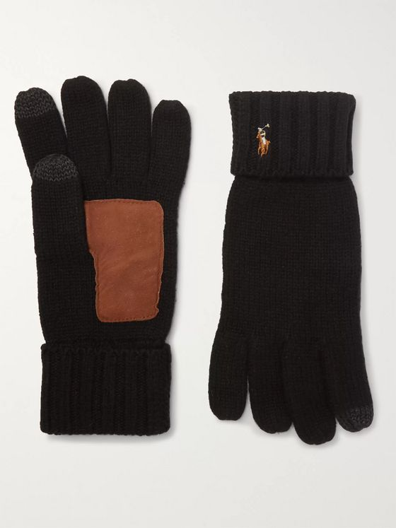 Polo Ralph Lauren Touchscreen Merino Wool and Suede Gloves