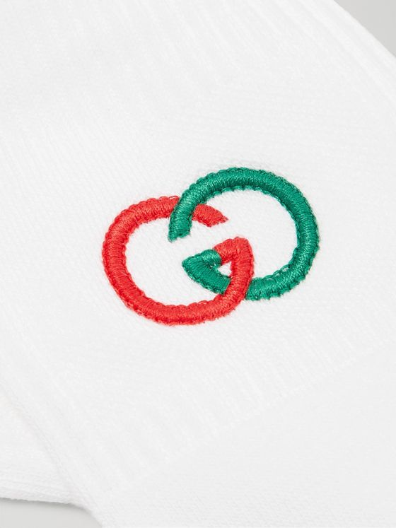Gucci Logo-Embroidered Ribbed Stretch Cotton-Blend Socks
