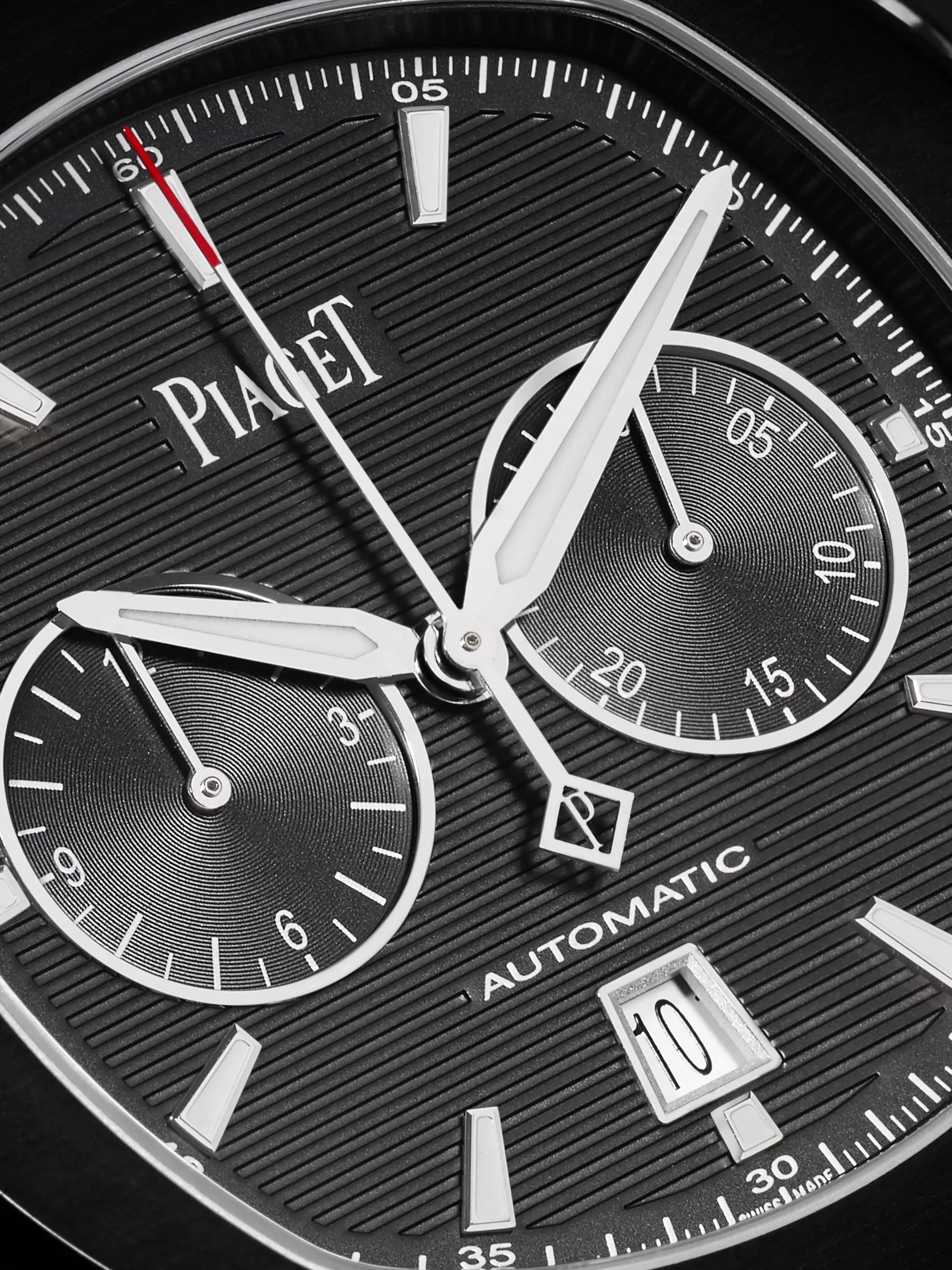 Piaget Limited Edition Polo S Automatic Chronograph 42mm ADLC-Coated Stainless Steel and Leather Watch, Ref. No. G0A42002