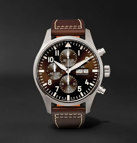 IWC SCHAFFHAUSEN Pilot's Antoine de Saint Exupéry Edition Chronograph 43mm Stainless Steel and Leather Watch