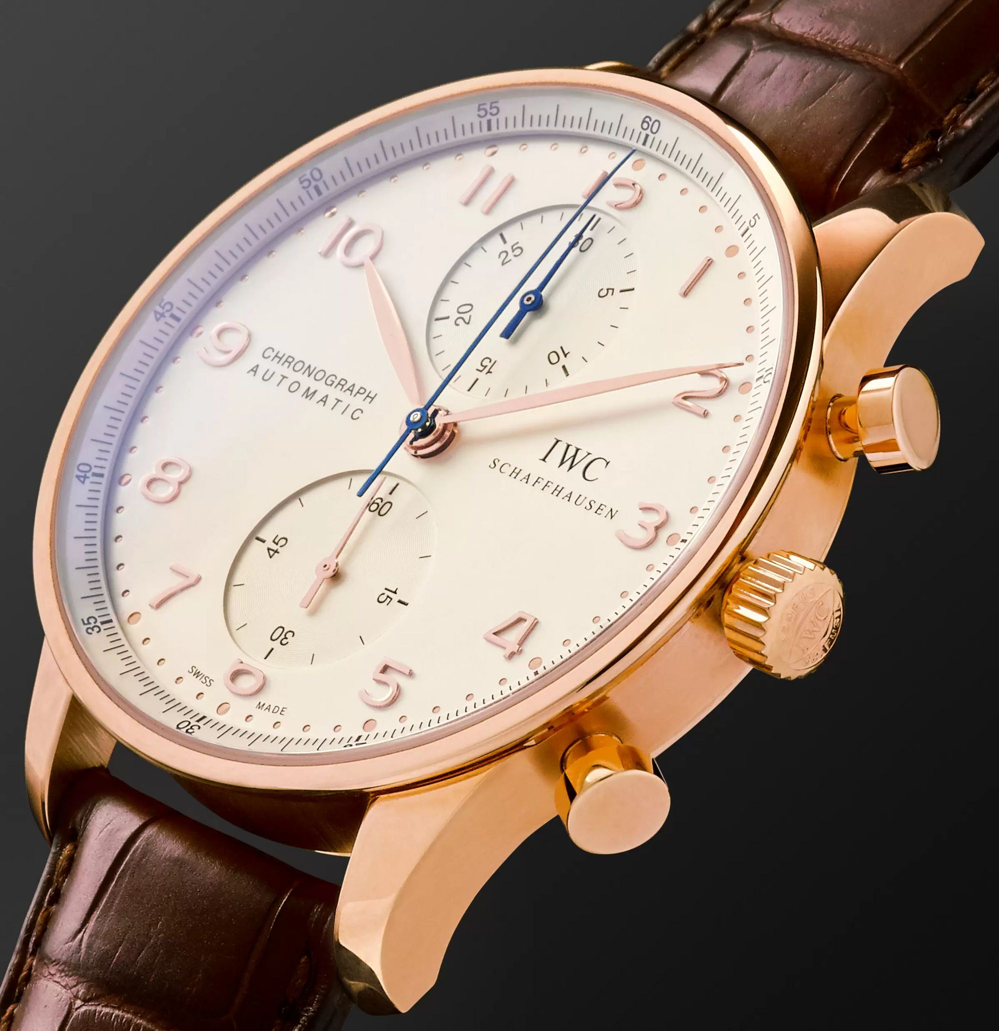 IWC SCHAFFHAUSEN Portugieser Automatic Chronograph 40.9mm 18-Karat Red Gold and Alligator Watch, Ref. No. IW371480