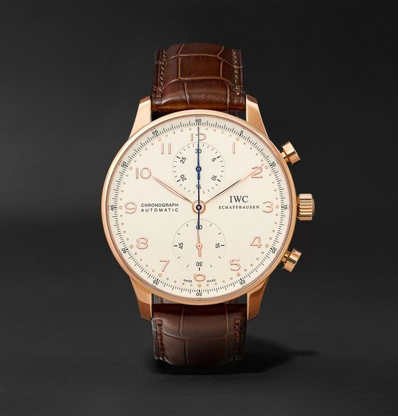 IWC SCHAFFHAUSEN Portugieser Chronograph 40.9mm 18-Karat Red Gold and Alligator Watch, Ref. No. IW371480