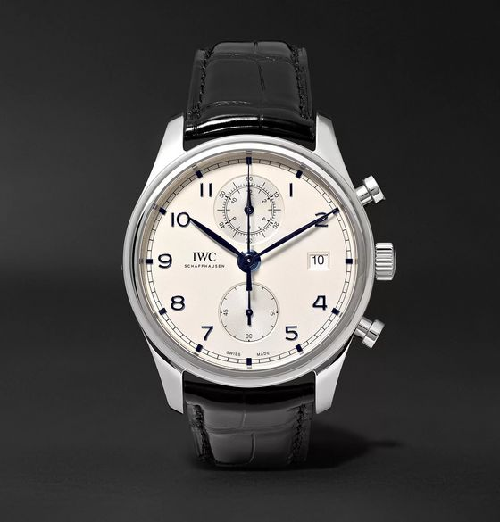 IWC SCHAFFHAUSEN Portugieser Classic Automatic Chronograph 42mm Stainless Steel and Alligator Watch, Ref. No. IW390302