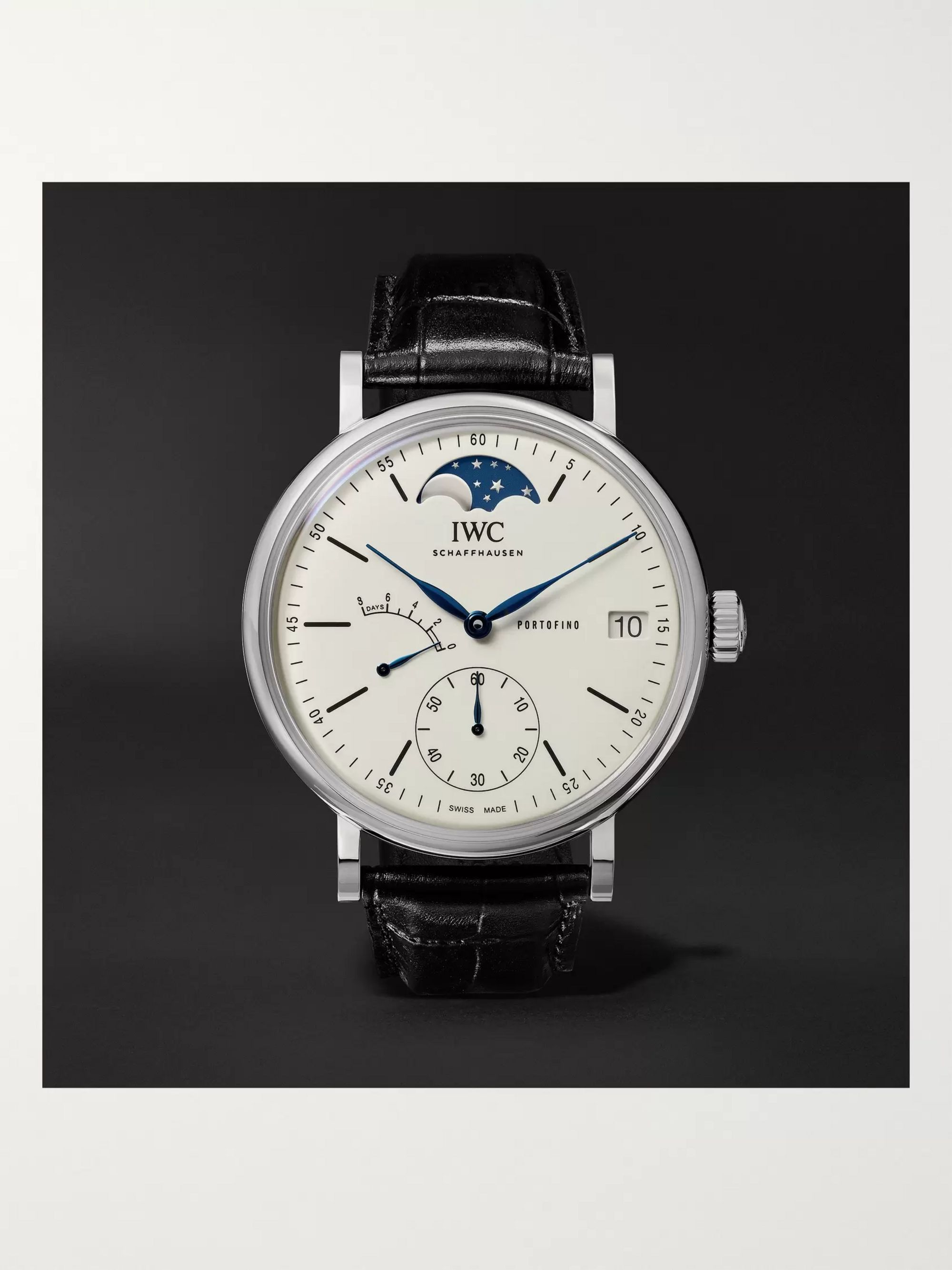 IWC SCHAFFHAUSEN Portofino Hand-Wound Moon Phase 45mm Stainless Steel and Alligator Watch