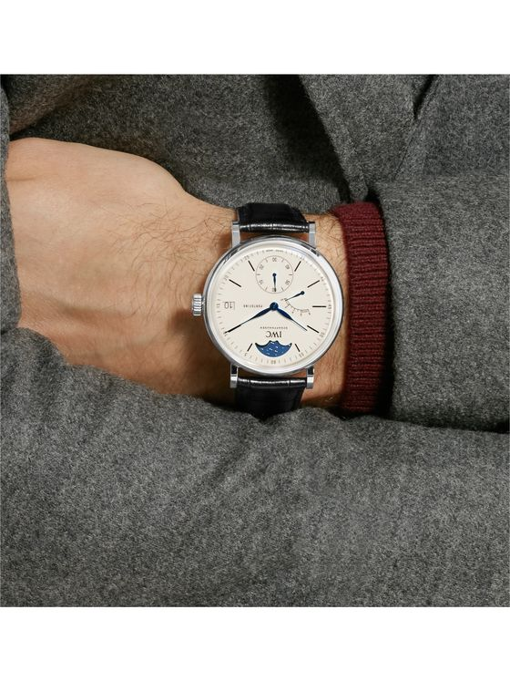 IWC SCHAFFHAUSEN Portofino Hand-Wound Moon Phase 45mm Stainless Steel and Alligator Watch, Ref. No. IW516406