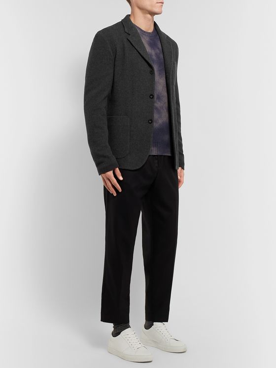 Mr P. Grey Unstructured Mélange Virgin Wool Blazer