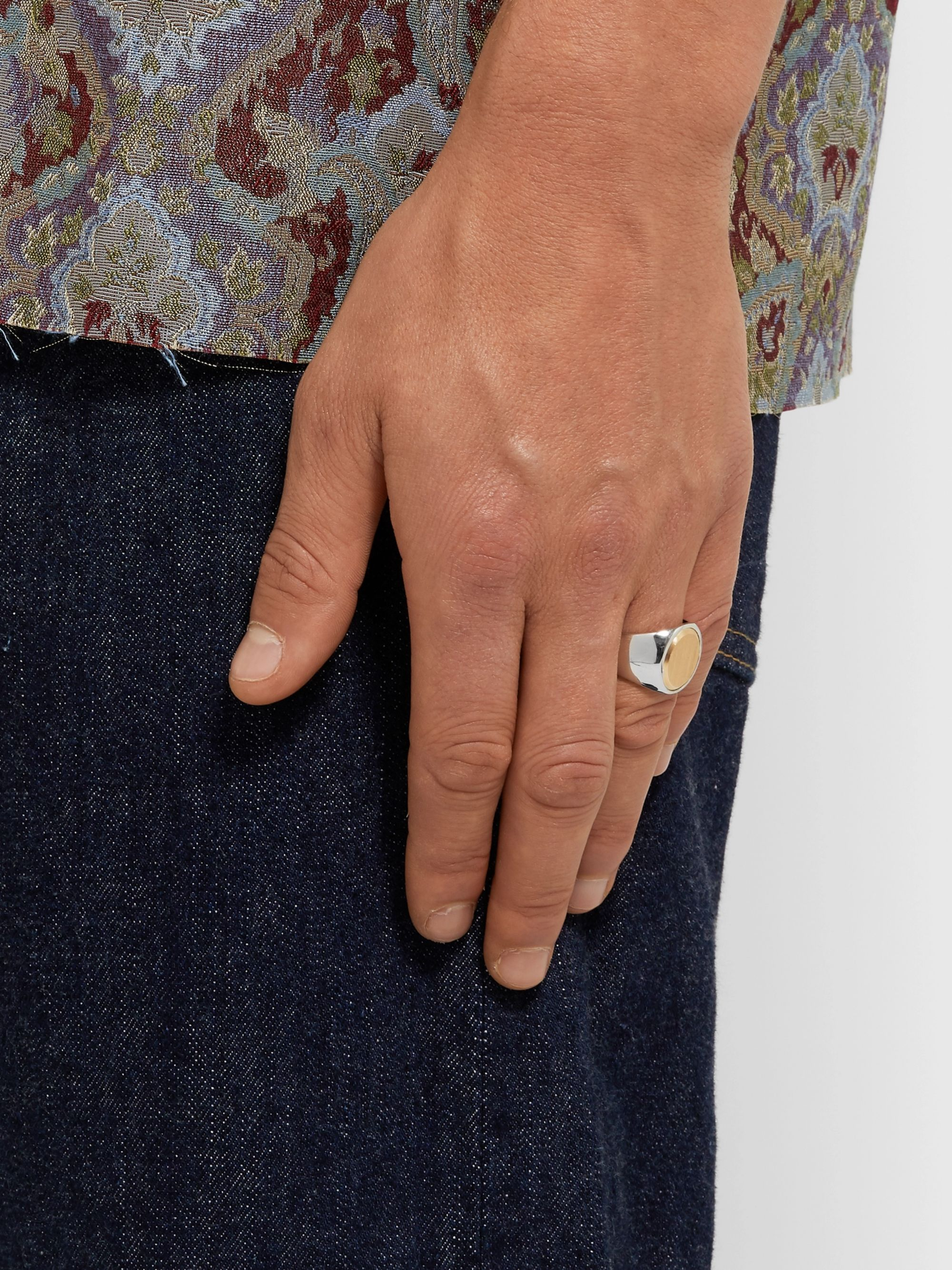 Tom Wood Oval Goldtop Sterling Silver and 9-Karat Gold Ring