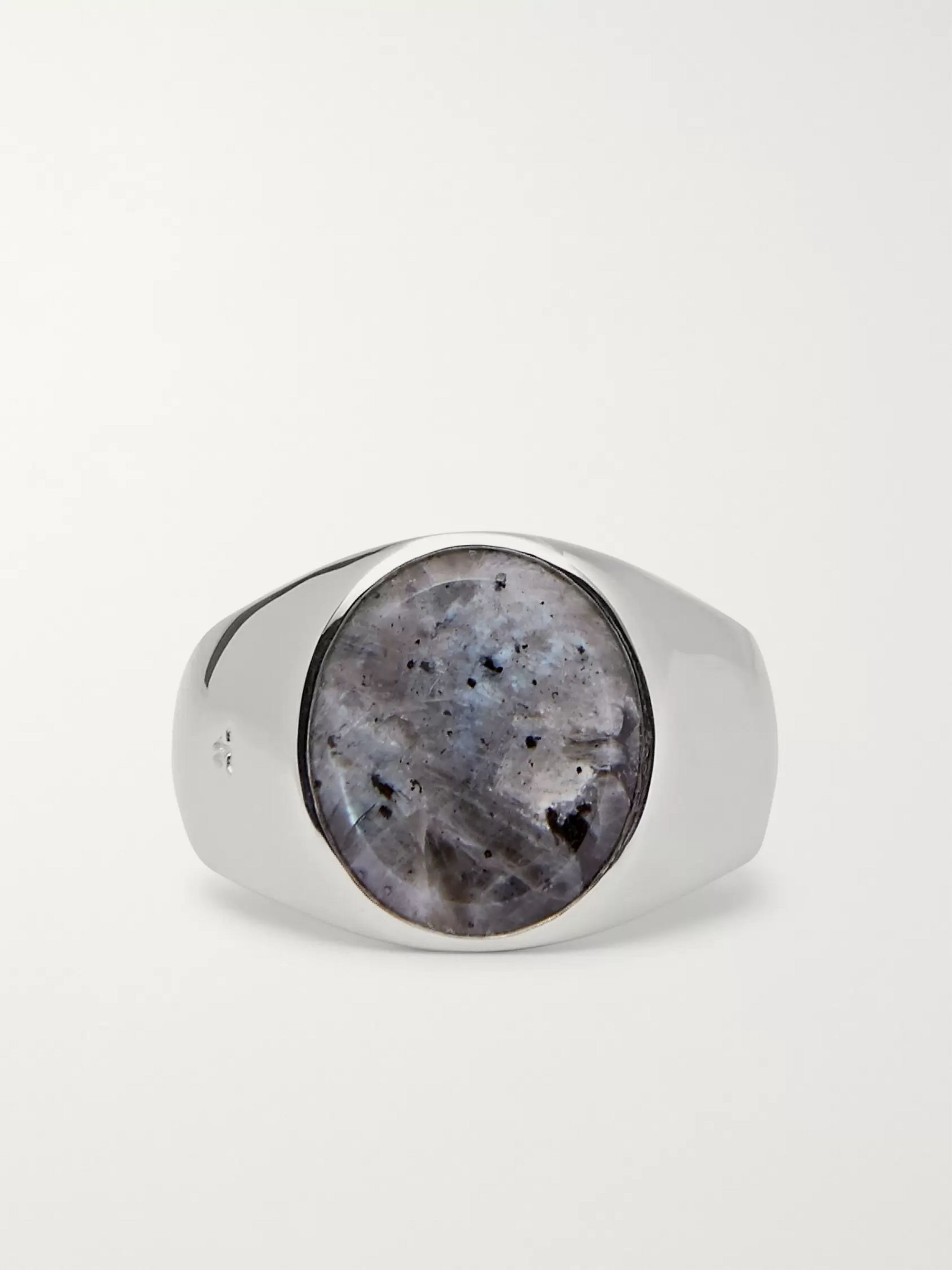 Tom Wood Polished Sterling Silver Larvikite Ring