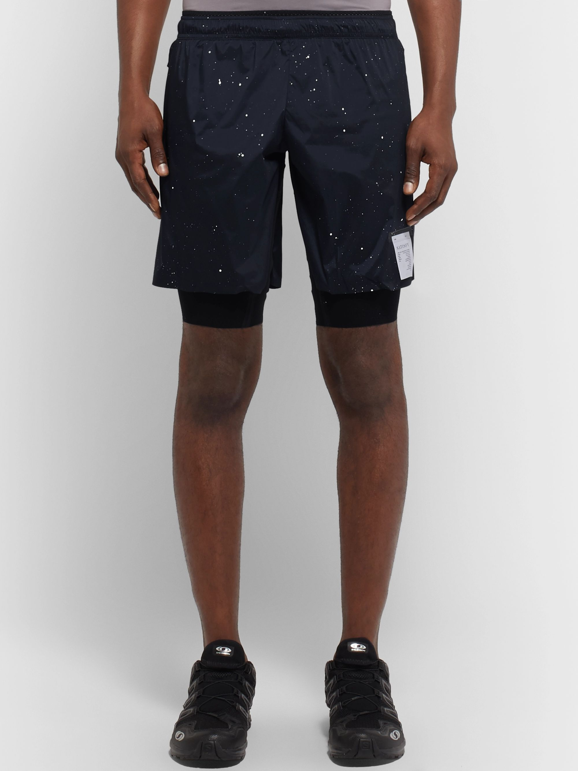 Satisfy Trail Long Distance Layered Printed Stretch-Shell and Justice Shorts