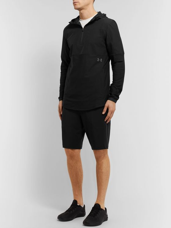 Under Armour Vanish Hybrid Shell and Stretch-Jersey Hooded Half-Zip Jacket
