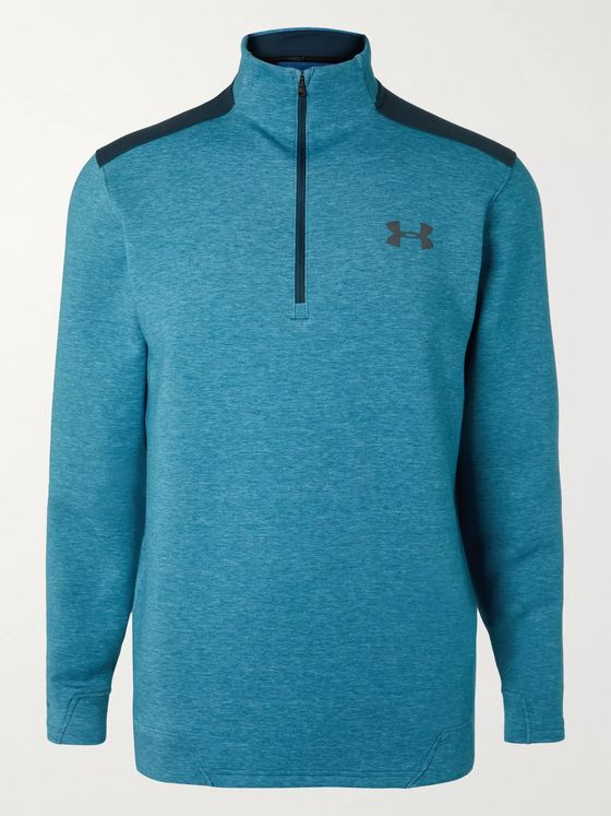 Under Armour UA Storm Panelled Mélange Stretch-Jersey Half-Zip Golf Top