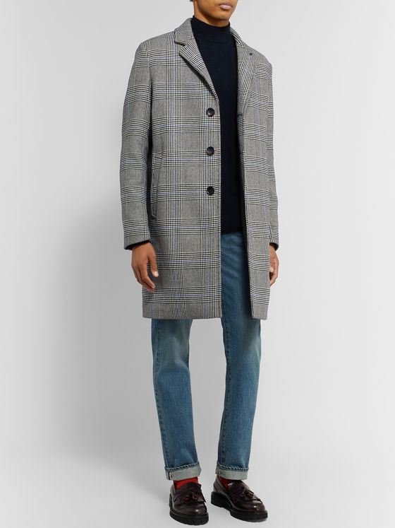 Mr P. Prince of Wales Checked Wool-Blend Overcoat