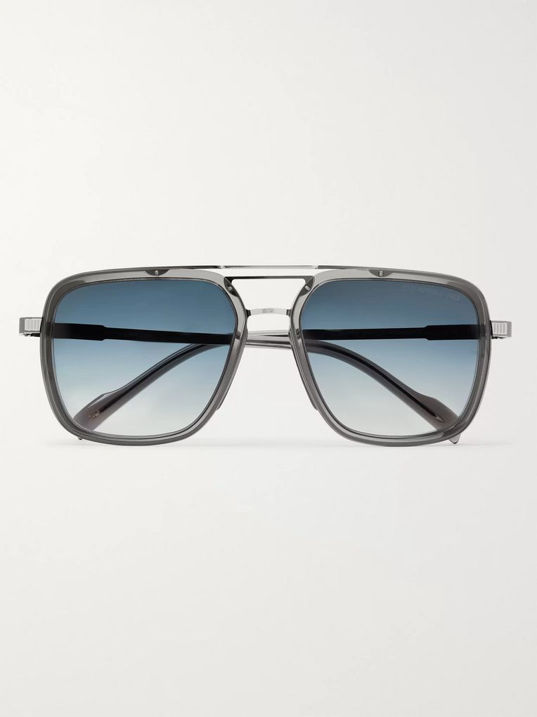 Cutler and Gross Aviator-Style Acetate and Gunmetal-Tone Sunglasses