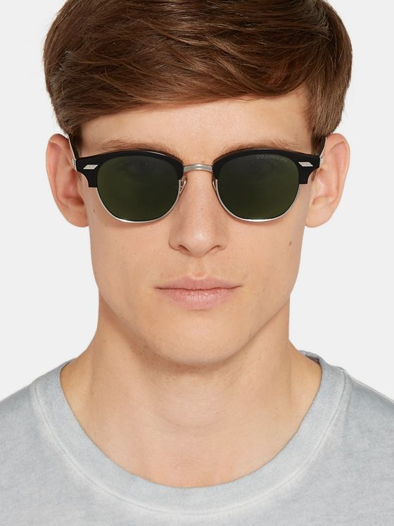Cutler and Gross Square-Frame Acetate and Silver-Tone Sunglasses