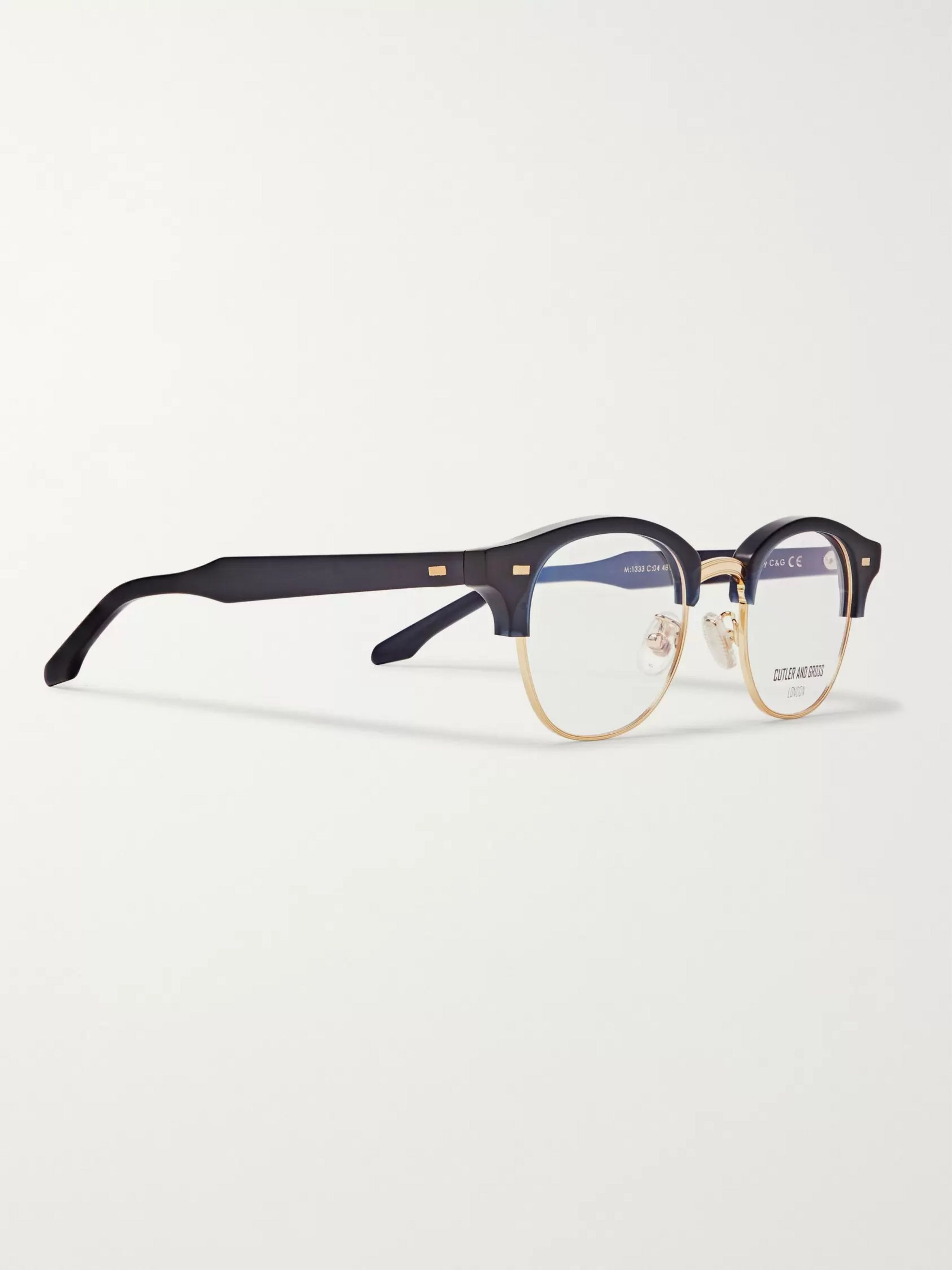 Cutler and Gross D-Frame Acetate And Gold-Tone Optical Glasses