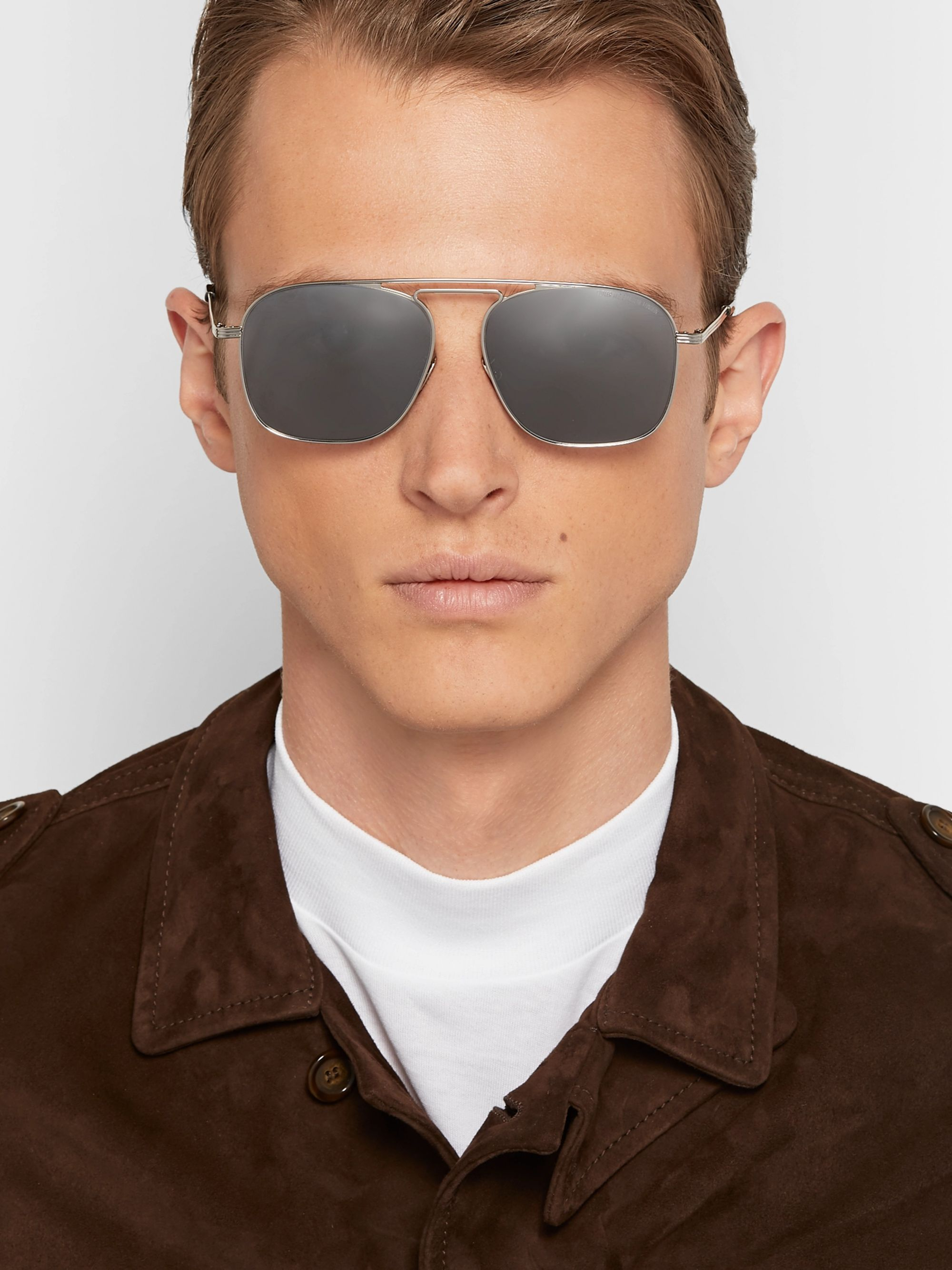 Cutler and Gross Aviator-Style Stainless Steel Sunglasses