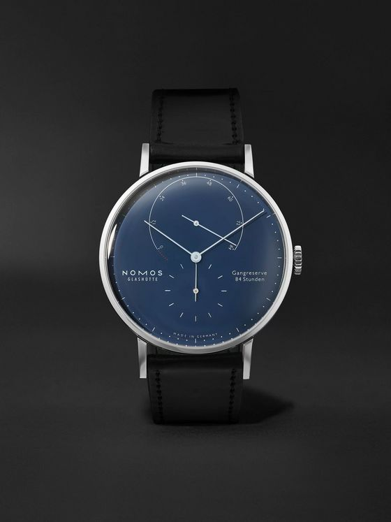 NOMOS Glashütte Lambda Hand-Wound 40.5mm Stainless Steel and Leather Watch, Ref. No. 960.S3