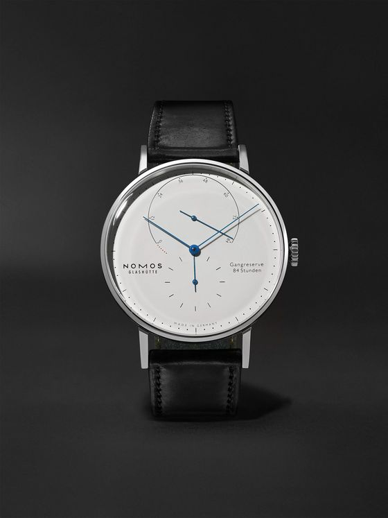 NOMOS Glashütte Lambda Hand-Wound 40.5mm Stainless Steel and Leather Watch, Ref. No. 960.S1