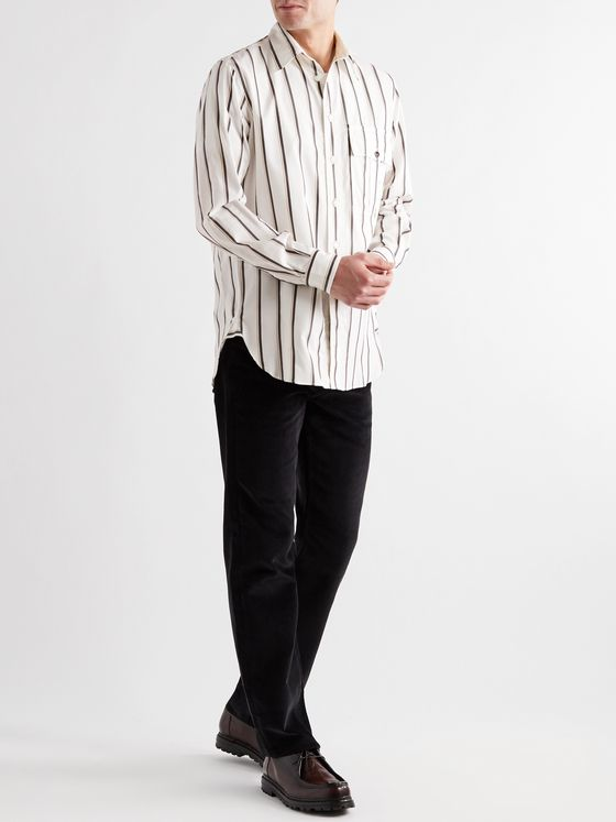 L.E.J Striped Cotton and Silk-Blend Shirt