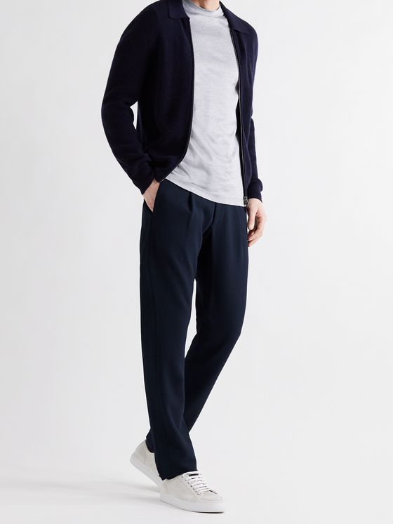 GIORGIO ARMANI Tapered Stretch-Virgin Wool Seersucker Drawstring Trousers