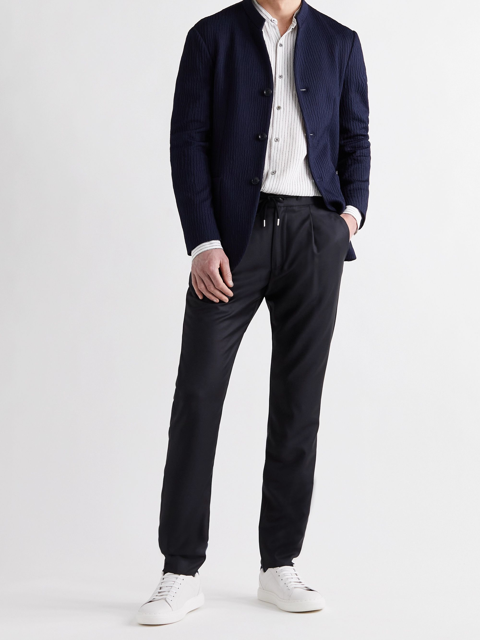 GIORGIO ARMANI Virgin Wool and Cashmere-Blend Drawstring Trousers