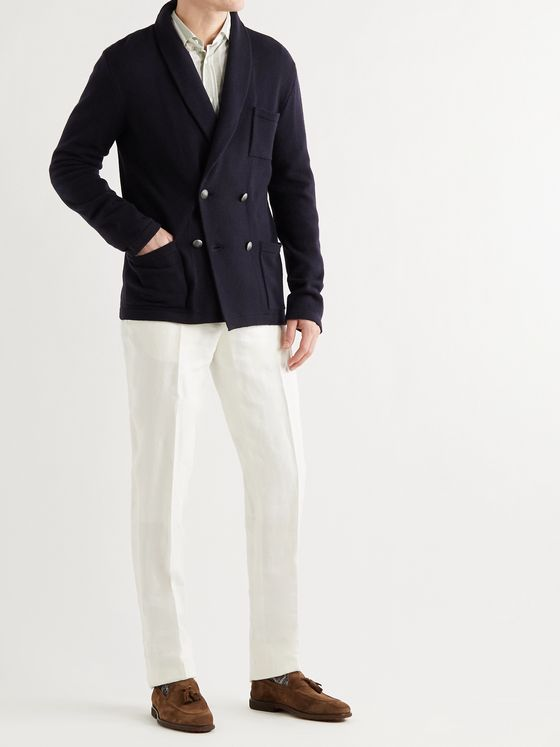 RALPH LAUREN PURPLE LABEL Shawl-Collar Double-Breasted Cashmere Cardigan