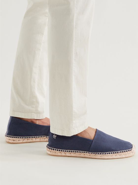 RALPH LAUREN PURPLE LABEL Logo-Detailed Leather-Trimmed Linen Espadrilles