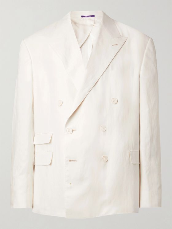 RALPH LAUREN PURPLE LABEL Double-Breasted Silk and Linen-Blend Tuxedo Jacket