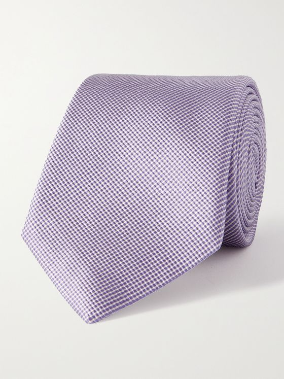 GIORGIO ARMANI 8cm Striped Silk and Cotton-Blend Tie