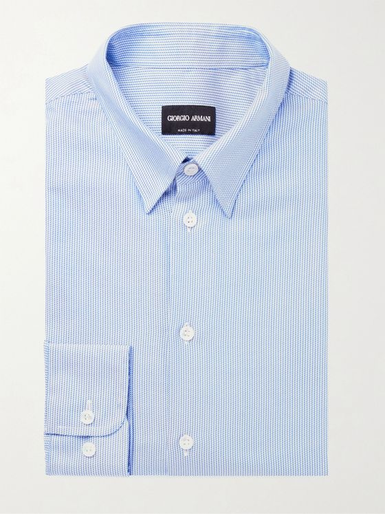GIORGIO ARMANI Slim-Fit Striped Cotton-Jacquard Shirt