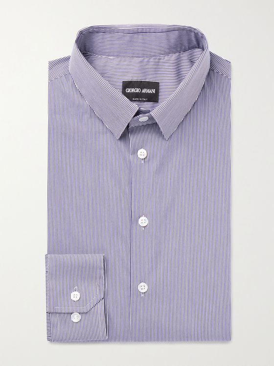 GIORGIO ARMANI Slim-Fit Pinstriped Cotton-Blend Shirt