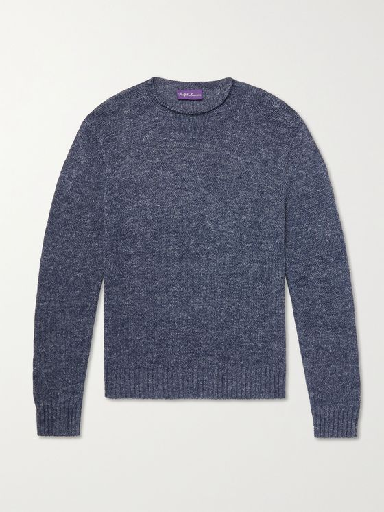 RALPH LAUREN PURPLE LABEL Mulberry Silk, Silk and Linen-Blend Sweater