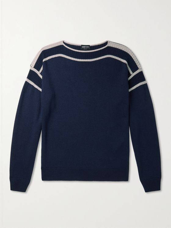 GIORGIO ARMANI Striped Virgin Wool and Silk-Blend Sweater