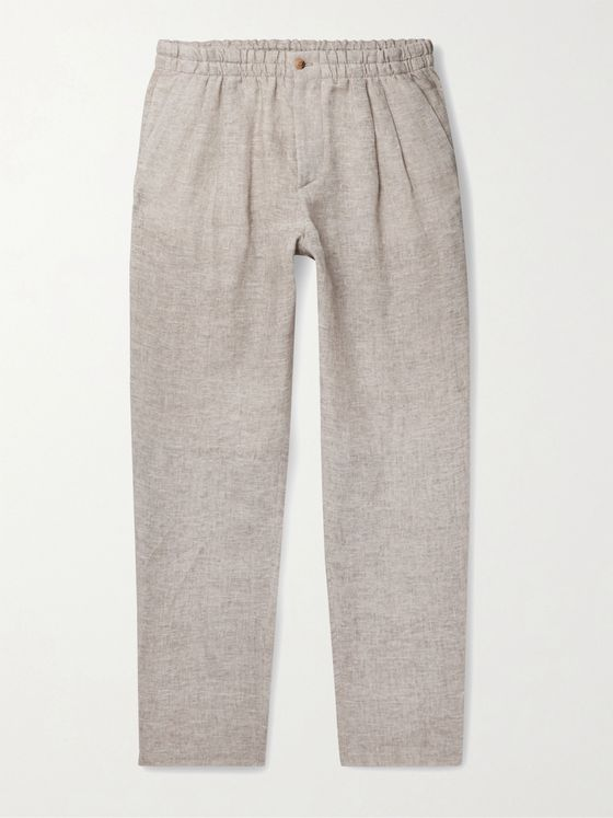 GIORGIO ARMANI Tapered Linen Suit Trousers