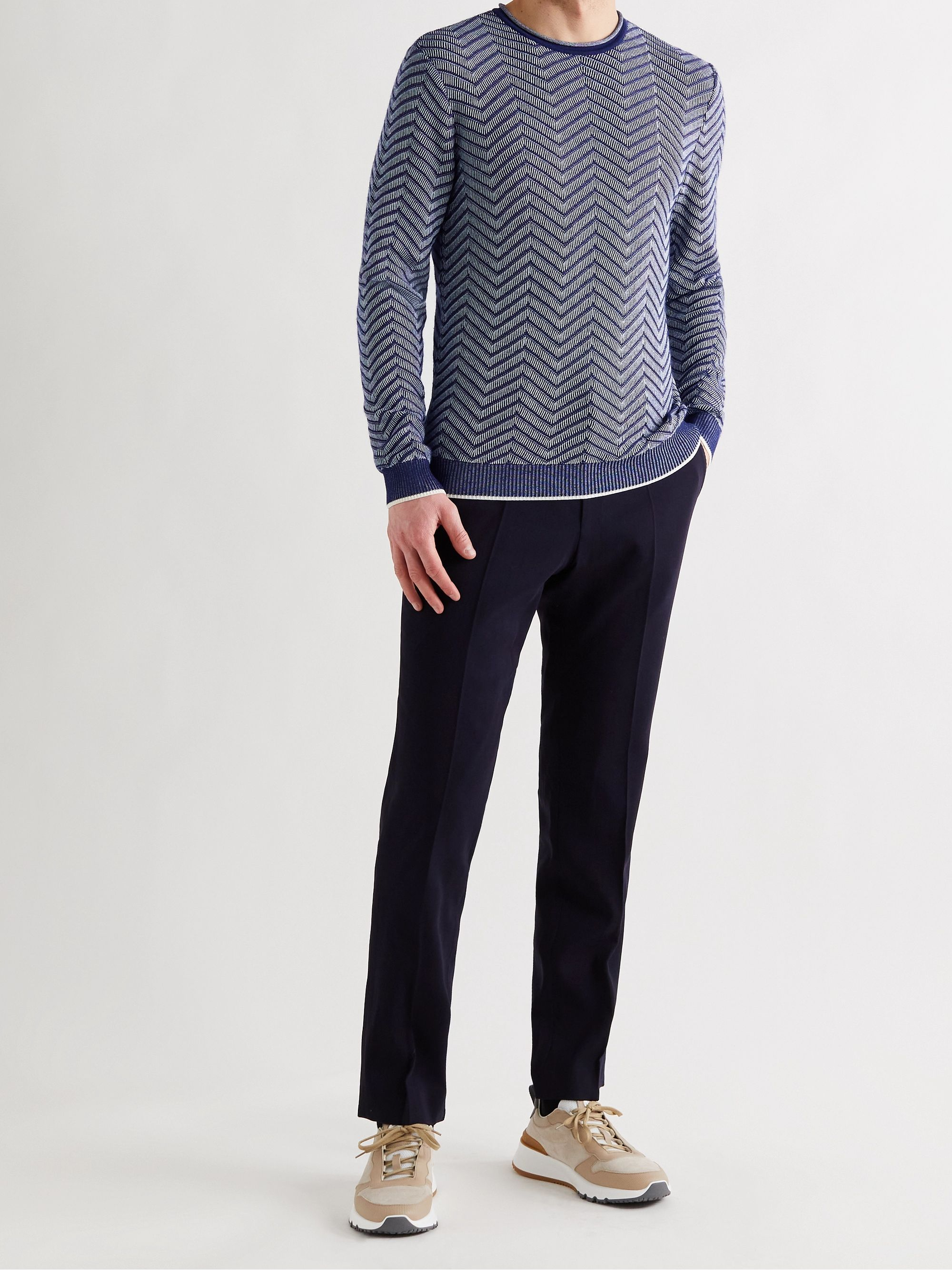 GIORGIO ARMANI Slim-Fit Cashmere-Blend Jacquard Sweater
