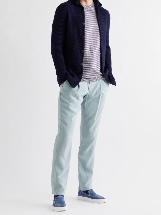GIORGIO ARMANI Tapered Silk-Blend Twill Drawstring Suit Trousers