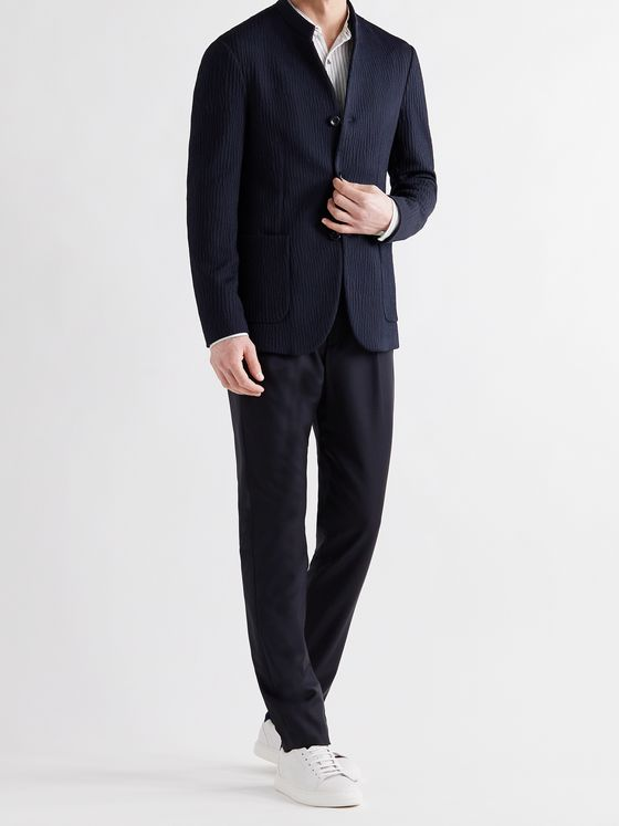 GIORGIO ARMANI Slim-Fit Mandarin-Collar Unstructured Textured Stretch-Jersey Blazer