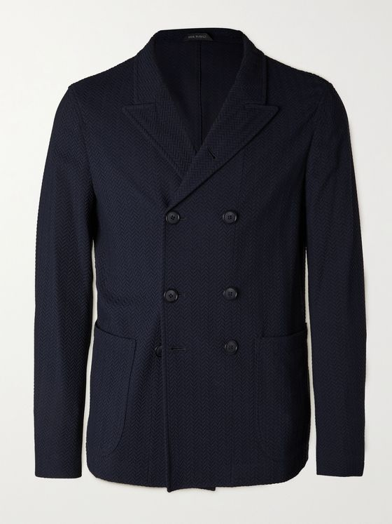 GIORGIO ARMANI Slim-Fit Double-Breasted Herringbone Woven Blazer