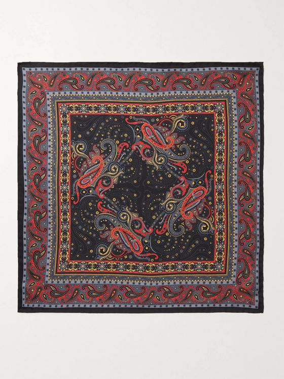 Beams F Paisley-Print Silk-Twill Pocket Square