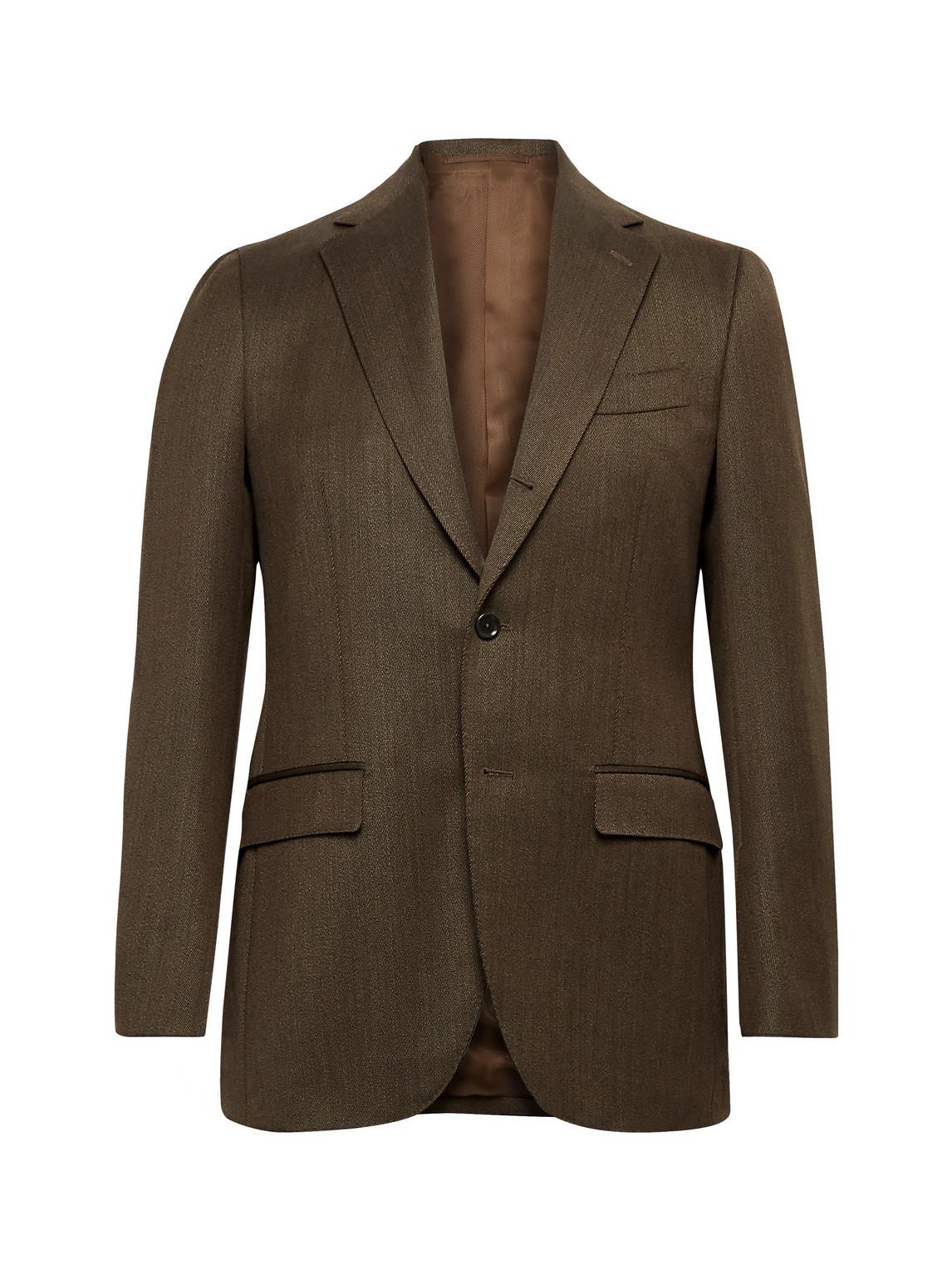 beams f - slim-fit wool-twill suit jacket - men - brown - it 54