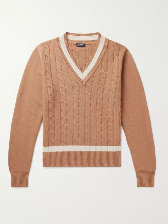 BEAMS F Tilden Slim-Fit Cable-Knit Merino Wool and Cashmere-Blend Sweater