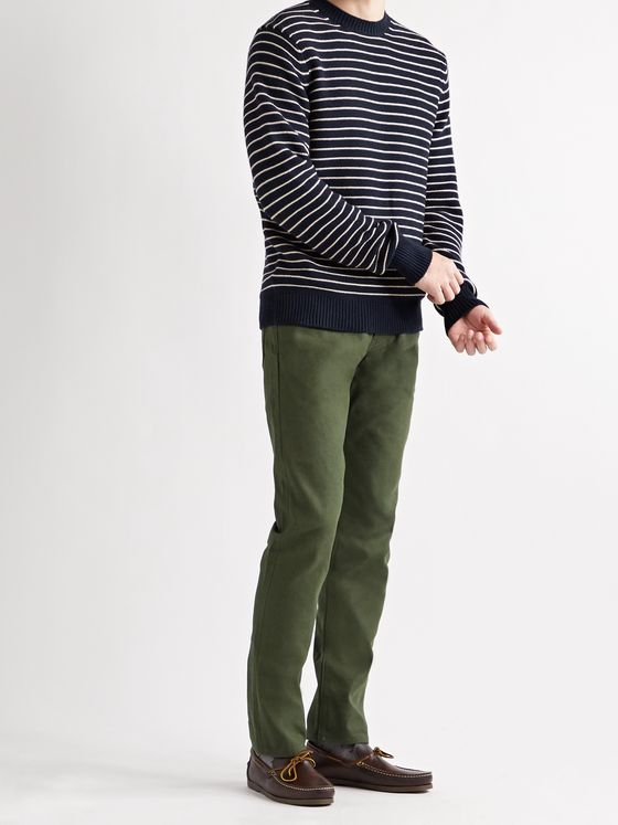 Sid Mashburn Slim-Fit Striped Cotton and Cashmere-Blend Sweater