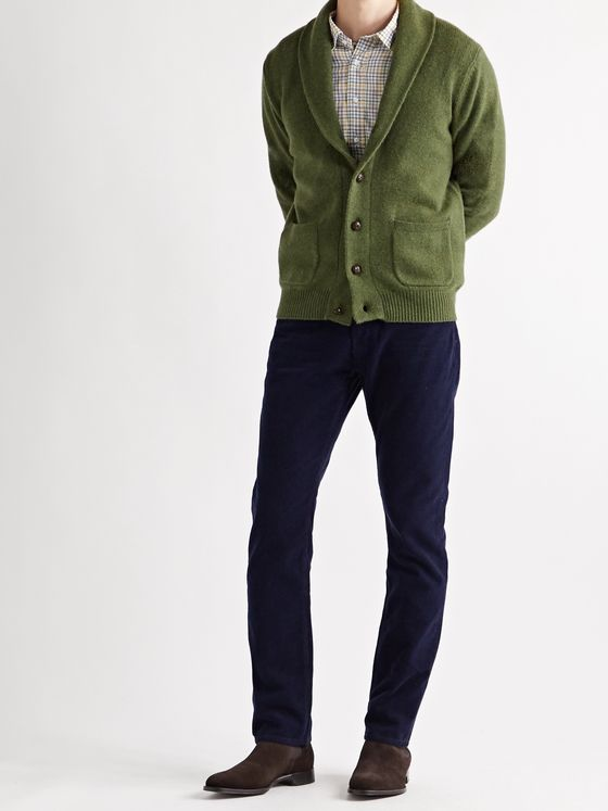 SID MASHBURN Slim-Fit Shawl-Collar Merino Wool-Blend Cardigan
