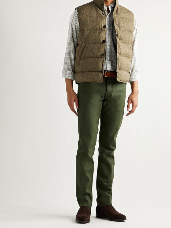 Sid Mashburn Herringbone Quilted Wool-Tweed Down Gilet