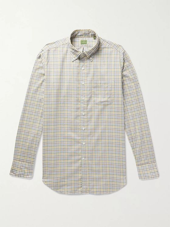 Sid Mashburn Button-Down Collar Checked Cotton-Twill Shirt